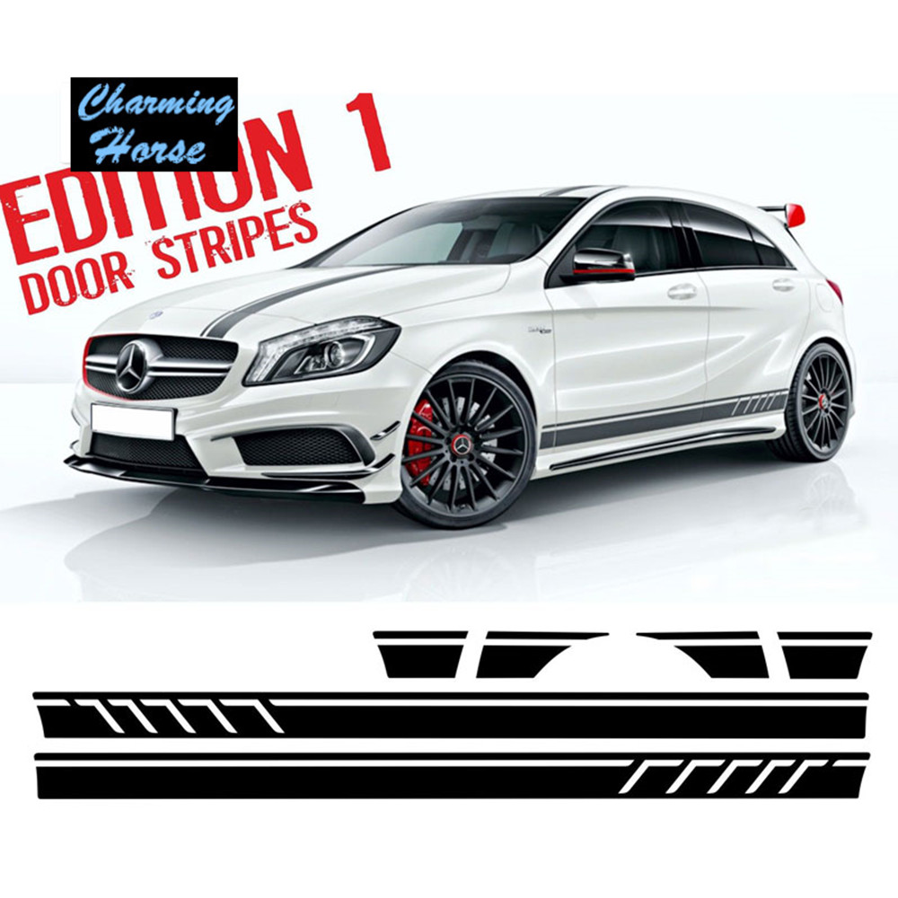 Sticker design for car online - Matte Black For Mercedes Benz Edition 1 Style Side Stripe Skirt Roof And Hood Decal Graphics