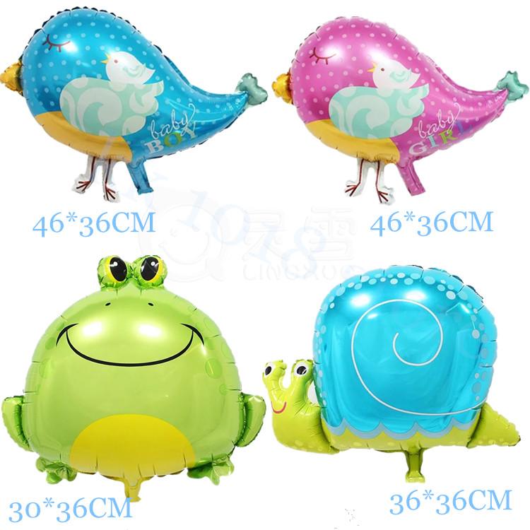 100pcs/lot Bird&Snail&Frog foil balloon Cute Animal shape balloons Birthday party Animal theme Air mylar balaos kids toys globos(China (Mainland))