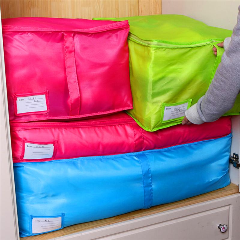 Cheap Clothes Quilt Bedding Duvet Zipped Handles Laundry Polyester Pillows Storage Bag Box Home Storage Organization(China (Mainland))