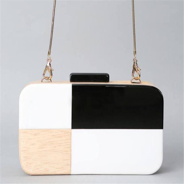 Новый мини акриловые деревянные клатч хит цвет женщины вечерние сумки ну вечеринку кошельки свадебные сумки цепи сумка мешок основной