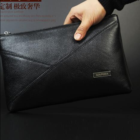 Brand 100% first layer genuine leather black envelope clutch bag men brown handbags mens messenger shoulder bag bolsas HB00017<br>
