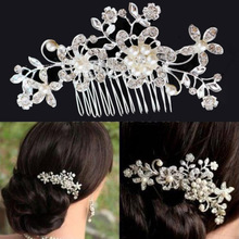 Buy chic wedding Crystal pearl rhinestone flower hair comb hair accessories women girls,charm bridal headpiece hair jewelry for $1.49 in AliExpress store