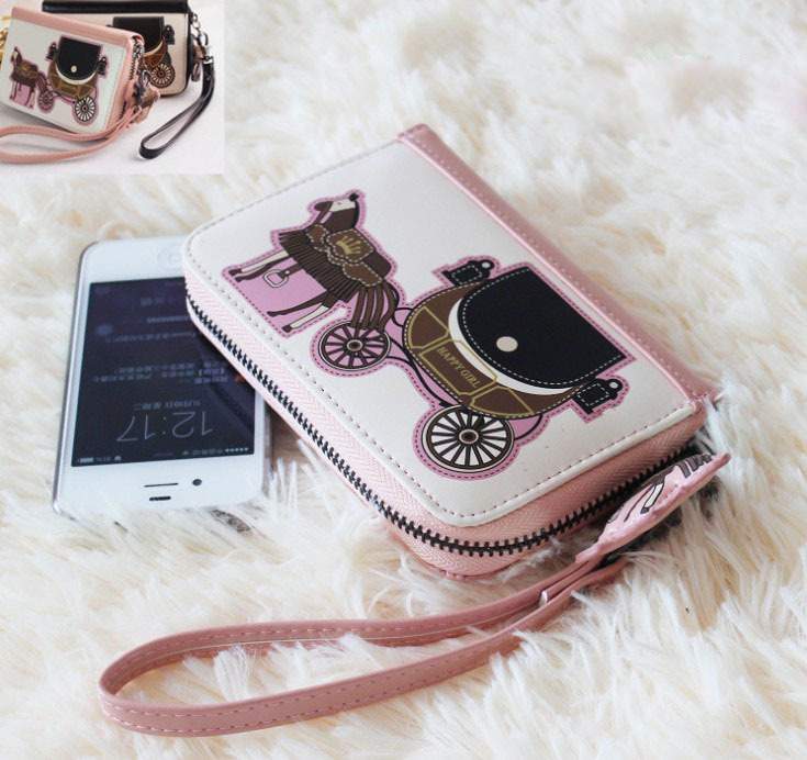 Retail Lovely Small Carriage Women Clutch Wallet Cash Purse Cartoon Short Wallet For Ladies With Phone Bags(China (Mainland))