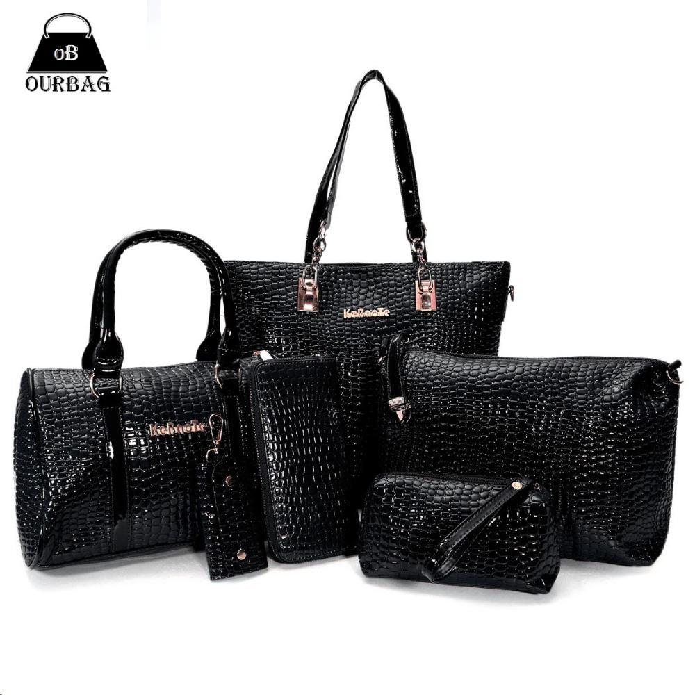 Luxusní lesklá souprava s krokodýlím vzorem - 3 kabelky, kosmetická taška, peněženka a klíčenka