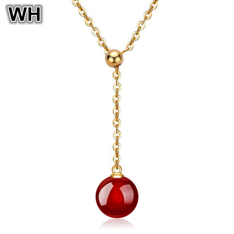 Adjustable 18K Gold Plated Chain Natural Red Black Agate Stone Pendant Silver 925 Necklace Women Jewelry Wholesale PN47(China (Mainland))