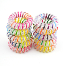 10pcs/lo Hair Accessories Telephone Cord Phone Plastic Headband Scrunchy Hair Band Hair Rope Headband 3.5cm Colorful(China (Mainland))
