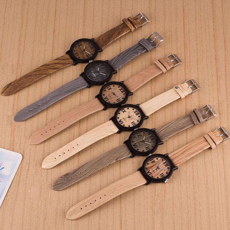 CLAUDIA 2016 Luxury Brand New Wooden Watch Roman Numerals Round Wood Leather Band Elegant Men Analog Quartz Vogue Wrist Watches