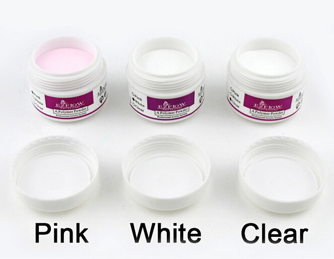 3 Colors White Clear Pink ezflow ACRYLIC POWDER for NAIL ART False Tips Tools Set 15g(China (Mainland))
