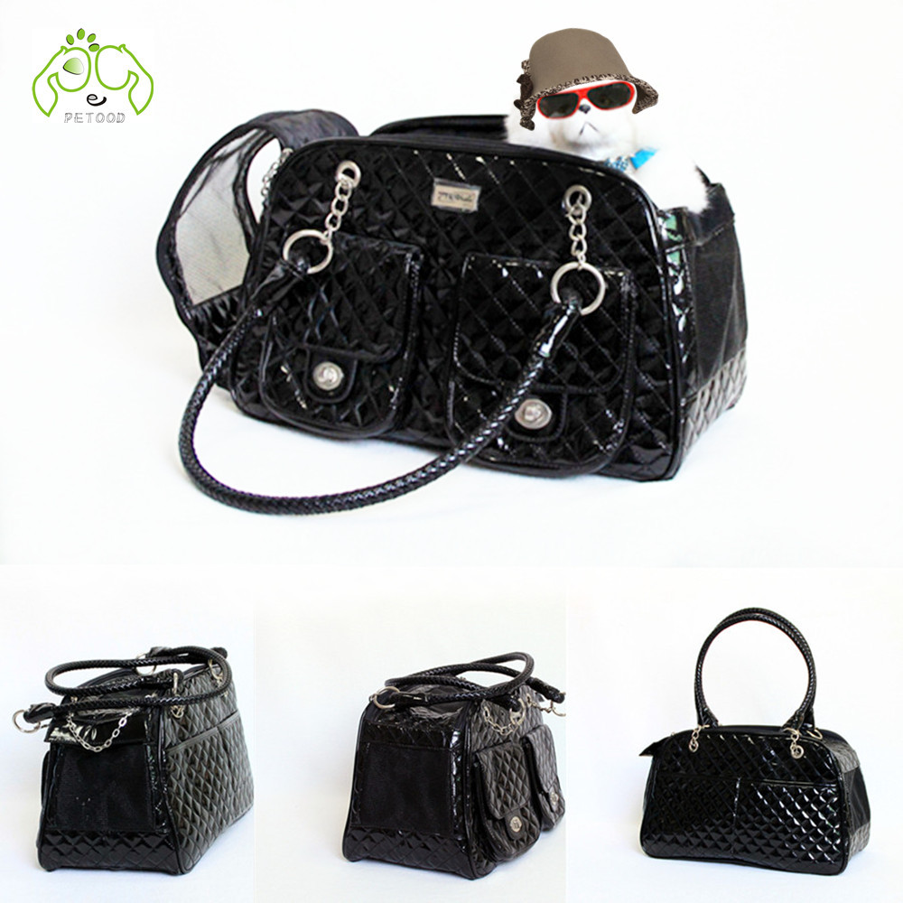 Fashion Black patent leather bags for dog pet carriers slings tote travel bags handbag quilt design high quality size M(China (Mainland))
