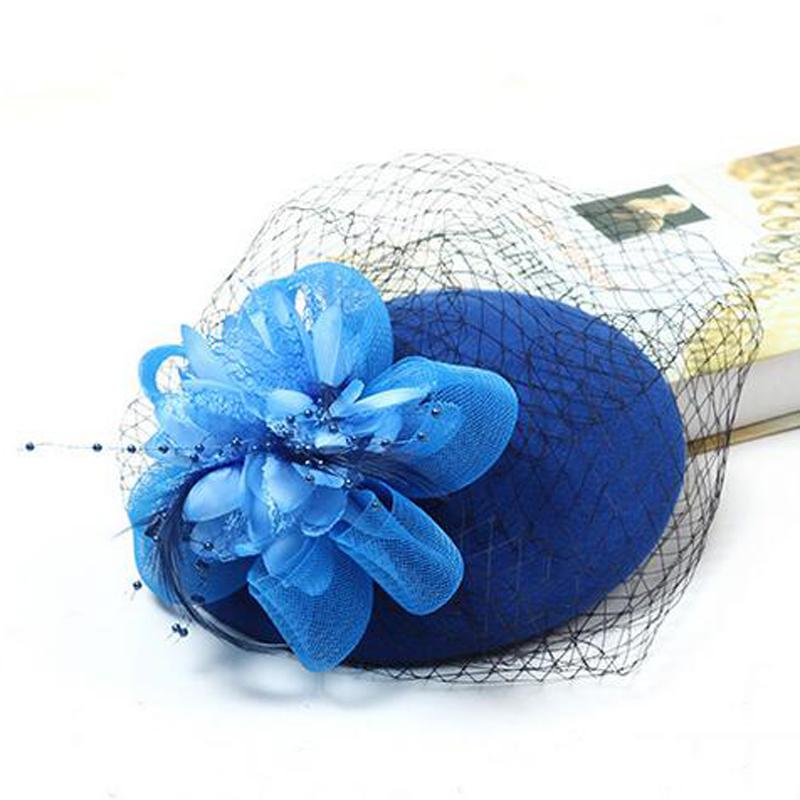 Retro Black Burgundy Beige Royal Blue Floral Wedding Hats For Bridal With Feather Wedding Accessories Chapeau Femme Mariage