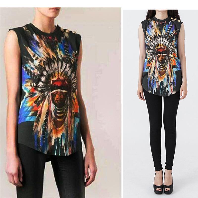 Women Clothing Metal Button Hipster Balmaied Indian Chief Graphic Brand Sleeveless Balm Camisetas Cotton Tops Tshirt Tee T Shirt(China (Mainland))