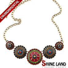 Free Shipping Min Order $10(Mix Order)2013Hot Sale Women Bohemia Style Enamel Beads Flowers Choker  Statement Necklace Jewelry