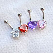 Love Heart Crystal 316L Stainless Steel  belly piercing button rings steampunk rock vintage fine charms jewelry