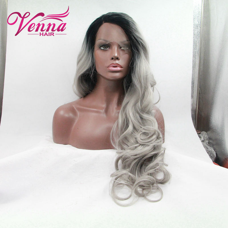 Cosply Glueless wig Heat resistant Fiber New Wave Style Black to grey Ombre Synthetic Lace Front Wigs Grey Body Wave wig<br><br>Aliexpress