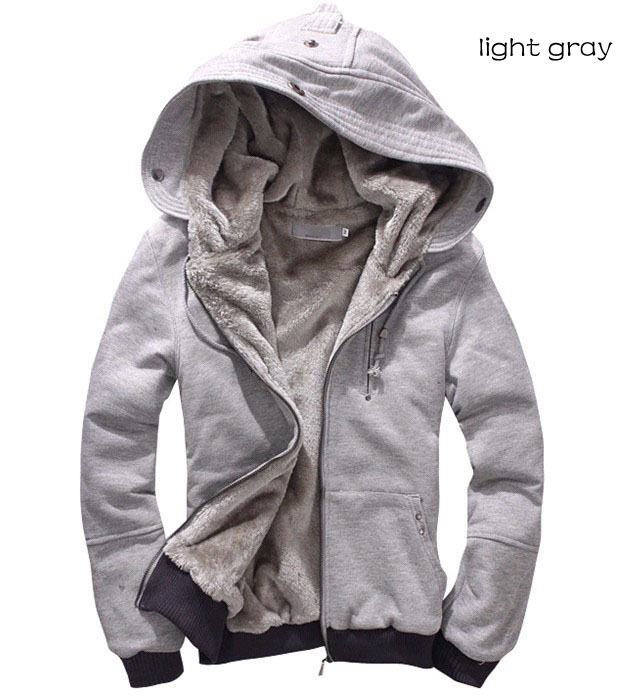 2015 New Men's Plush Thick Warm Hoodie Overcoat Winter Coat Fleece & Men's Cotton Padded Jacket 6 Colors For Male MWM055(China (Mainland))