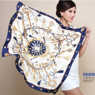 2015 Spring New Arrival France Euro Brand Style Women Fashion Silk Polyester Square Scarf Big Size 90cm*90cm Silk Shawl(China (Mainland))