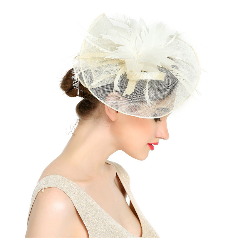 Women Large Flower Feather Wedding Hat Girl Charming Sinamay Fascinators Design with Special Shape Fashion Headpiece(China (Mainland))