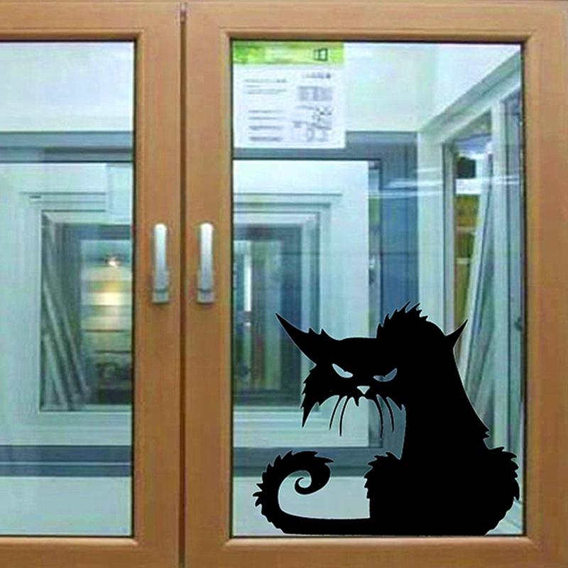 Hot Sale Spooky Scary Black Cat HALLOWEEN Vinyl Car Home Bedroom Window Laptop Wall Sticker 130x110mm(China (Mainland))