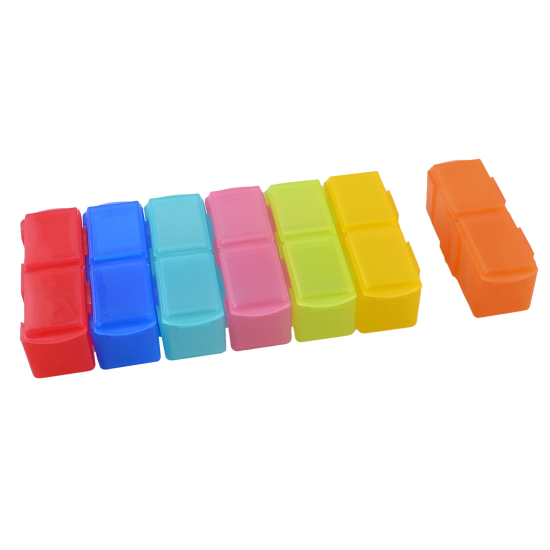 Assorted Colors Plastic Detachable 14 Mini Boxes Linked Storage Case Box Holder(China (Mainland))