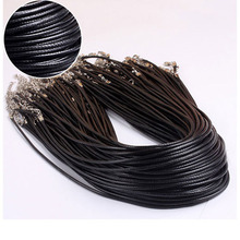 "3Pcs 2mm Twisted Braided Rope Black/Brown Leather Cord Chain 20"" Necklace Silver Clasp String Rope For Women(China (Mainland))"