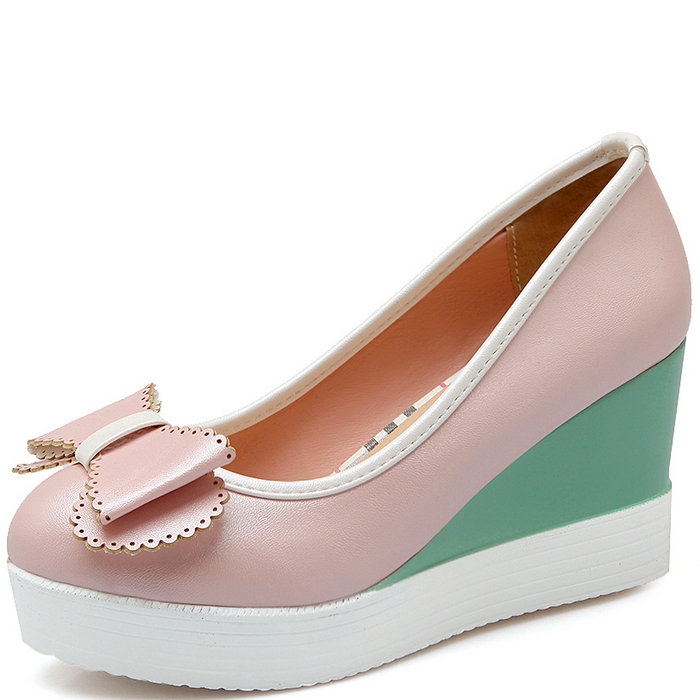Здесь можно купить  Women Pumps Shoes Thick Sole Wedges High Heel Shoes Sweet Bow tie Platform Shoes Women