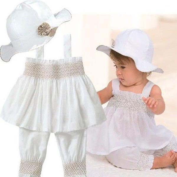 0 3 Years Toddler Baby Kids Ruffled Outfit 3 Pcs Girl Top Pants Hat Set Dress