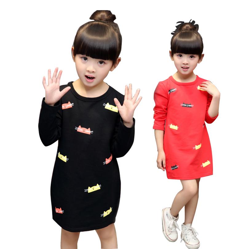Fashion children girls cartoon long sleeve top kids cartoon cat printing cotton T-shirts baby undershirts(China (Mainland))