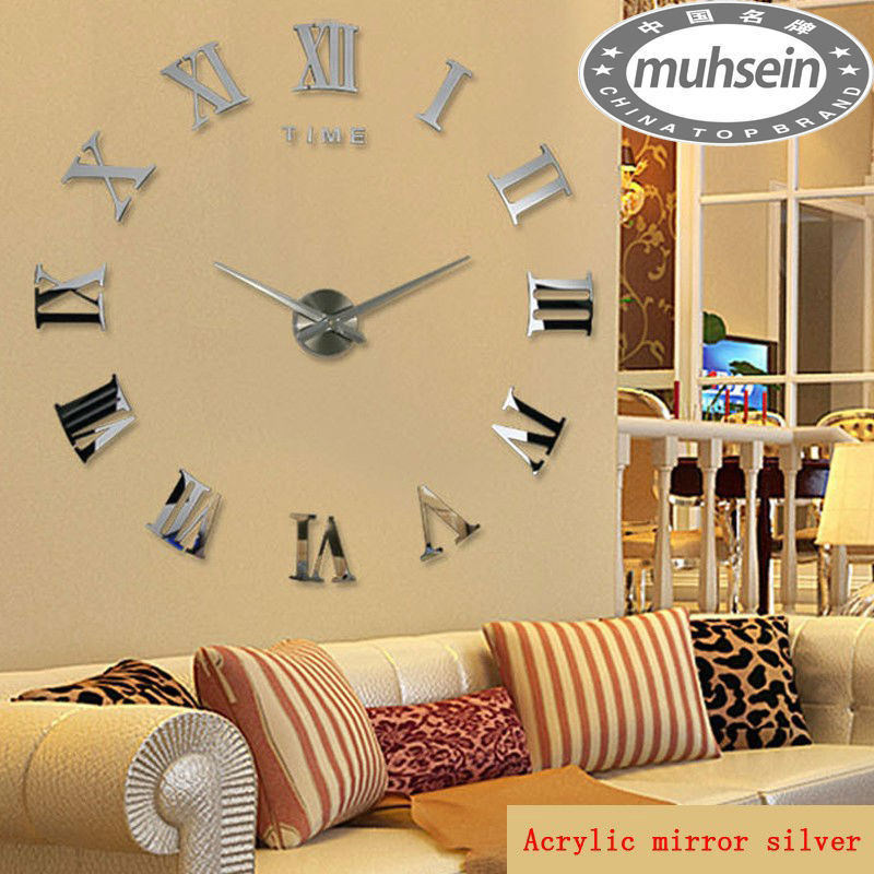 2015 New Home decoration wall clock big mirror wall clock Modern design,large size wall clocks.diy wall sticker unique gift(China (Mainland))