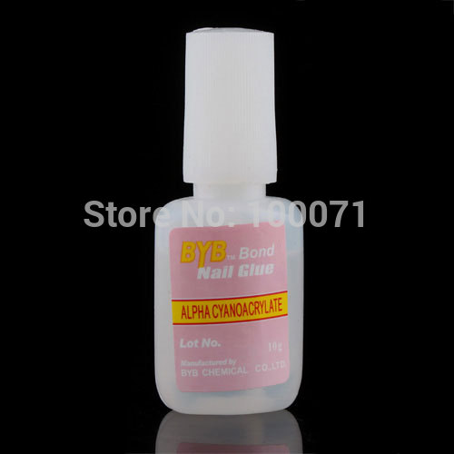 New Nail Art with Brush Nail Glue 10Pcs/lot False Tip Acrylic UV 10g HLSD #5718(China (Mainland))