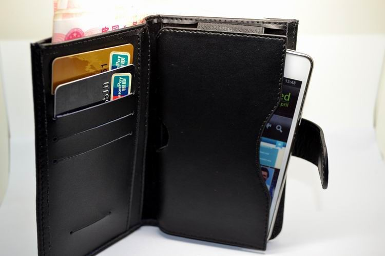 2013 Hot-selling double fold genuine leather wallet bag case w/card slot for iphone 3gs 4g 4s 5g Nokia N9 Lumia 800 freeshipping(China (Mainland))