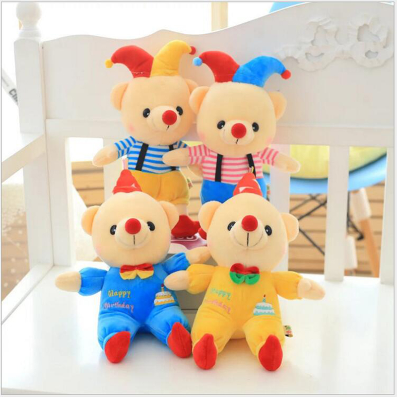 28cm 2016 New Children's Toys plush Dolls Wholesale Creative Clown Birthday Bear 2 Paragraph Free Door Holiday Gifts x252(China (Mainland))