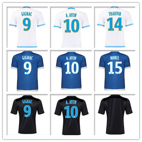 2015 2016 Marseille jersey Home Away Olympique de Marseille 15 16 3rd black Soccer jerse MENDY VALBUENA Camiseta Football Shirt(China (Mainland))