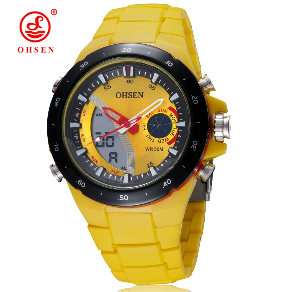 Wholesale OHSEN brand mens fashion digital quartz wristwatch silicone strap yellow dial waterproof outdoor sport watches gifts(China (Mainland))
