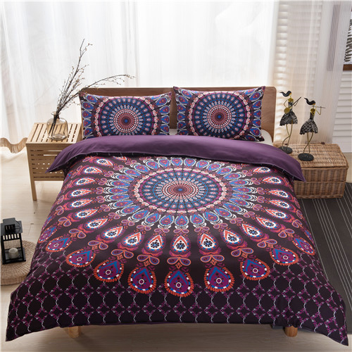 Bohemian Queen Size Duvet Cover Set Black White Purple Printing Quilt Cover Bed Linen boho bedding sets(no filling,no sheet)(China (Mainland))