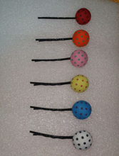 New coming!Hand made Dot button hairpin candy color hair clip girl clip 10pieces a lot wholsale price