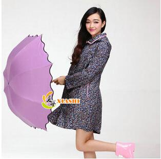 Rainwear Cute Waterproof Thin Knee Long Floral Raincoat Women Female Rain Coat Poncho Chubasquero mujer Tour Rain Trench Coat Bu(China (Mainland))