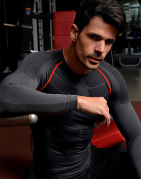Мужская Бег Велоспорт Плотно Спортивной Длинным Рукавом Дышащий Быстросохнущие Базовый слой Баскетбол Джерси Сжатия Рубашка