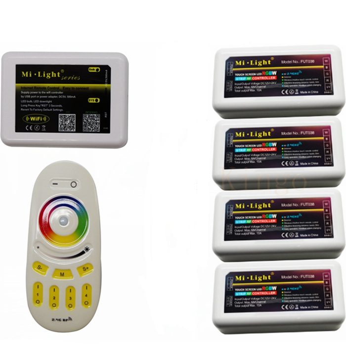 Mi.light LED Touch controller mi light 2.4G rgbw remote +milight rgb controller 4pcs +1pcs mi light wifi controller set(China (Mainland))