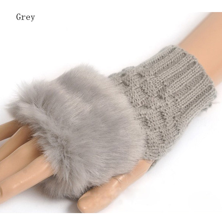 fashion Cute Faux Rabbit Fur Hand Winter Warmer Knitted Fingerless Gloves Mitten 10 colors HG-0433(China (Mainland))