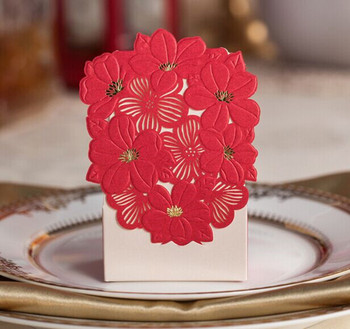 100pcs/lot NEW ARRIVALS Red Flower Wedding Favor Candy Boxes Creative Gold Stampping Process Small Size Gift Boxes 65*35*105mm