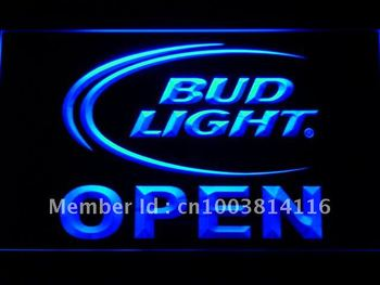 025-b Bud Light Beer OPEN Bar LED Neon Light Sign