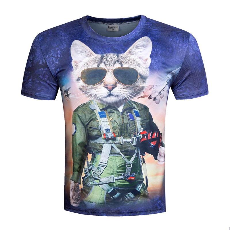 Summer 2016 New Fashion Brand T-shirt Funny Super Power Cat Sheriff 3D Print T shirt Men Leisure Short Sleeve Anime Tees Tops(China (Mainland))