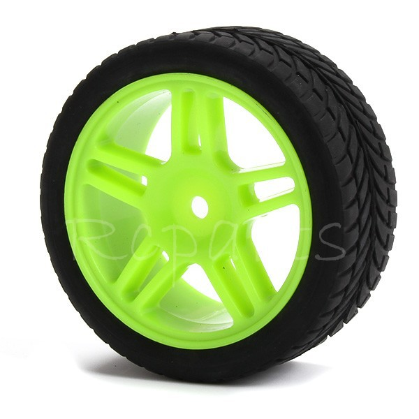 4 x RC 1:10 Green On-road Car Rubber + Plastic Tires Leaf Shape(China (Mainland))