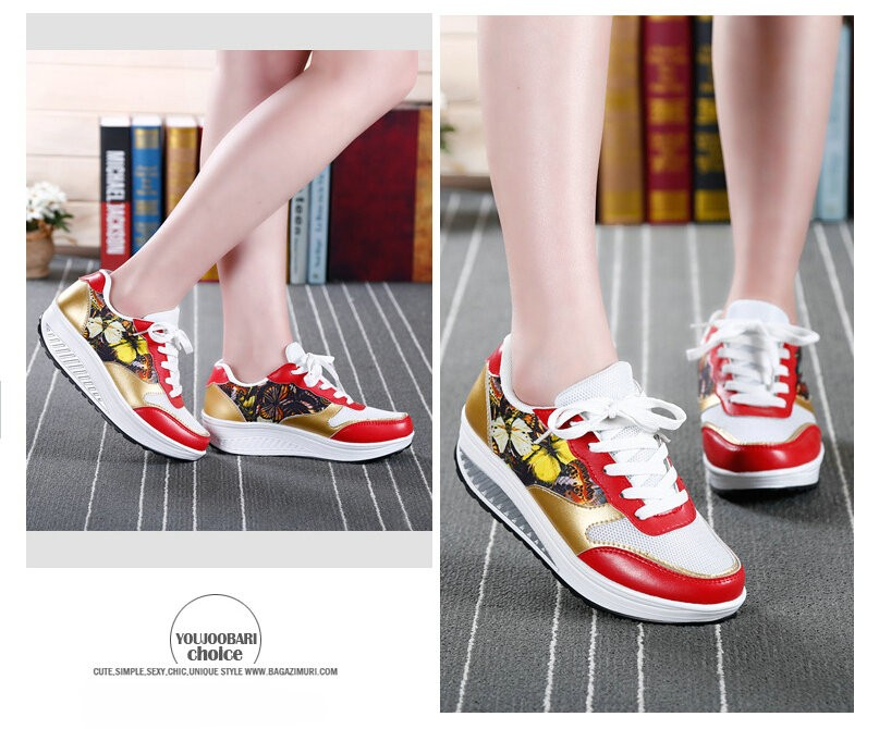 2016 Women Spring/Summer Graffiti Breathable Platform Casual Shoes Womens Creepers Walking Shoes Woman Loafers chaussure femme