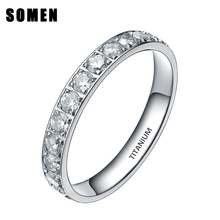Buy 3MM Fashion Women Titanium Ring Bling Cubic Zirconia Eternity CZ Stone Engagement Rings Promise Wedding Band Size 4-12 for $8.97 in AliExpress store