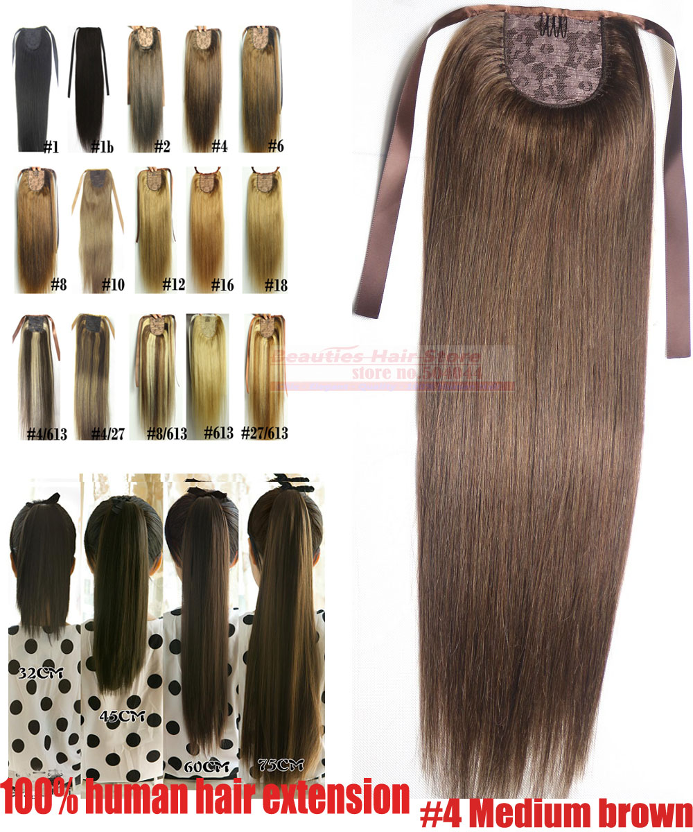 free shipping 16-30  100g 100% human hair 18-30 horstail ponytail clips in/on extension #4 middle brown<br><br>Aliexpress