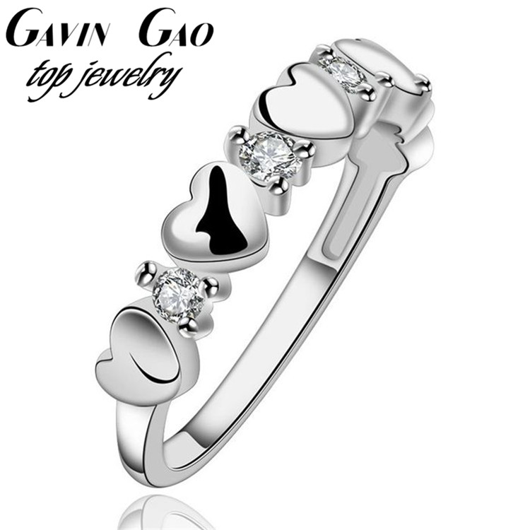 Top Quality Simple AAA+ Cubic Zircon Diamond Romantic Heart 925 Silver Rings For Women/Girls Wedding Jewelry(China (Mainland))