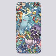 Water type pokemonn Design black skin case cover cell mobile phone cases for iphone 4 4s 5 5c 5s 6 6s 6plus hard shell