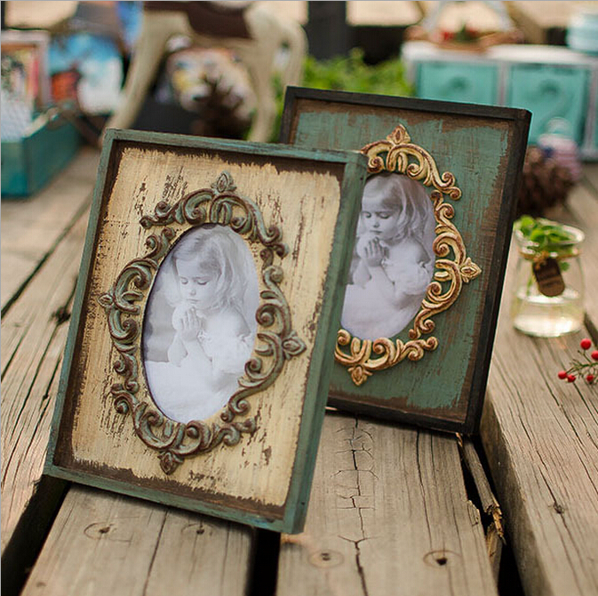 .com : Buy Vintage Picture Frames Rectangle Carved Retro Rustic Style ...
