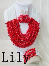 Luxury Bridal African Nigerian Coral Beads Jewelry suit Perfect Wedding women Necklace/Earrings/Bracelet Free Shipping C-711